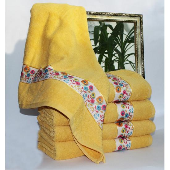 Полотенце махровое Весна желтое 50х90