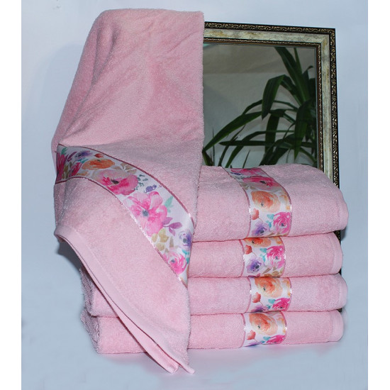 Полотенце махровое Весна розовое цветы 70х140